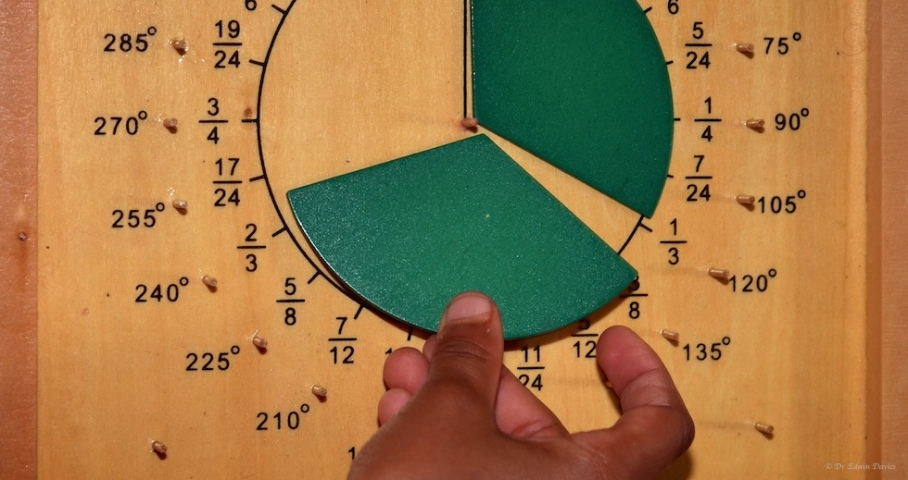 The Montessori protractor for learning about fractions and angles