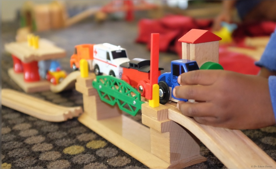 Playing with the Brio train set