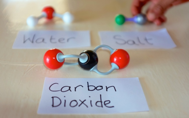 Molecules of carbon dioxide, water and salt