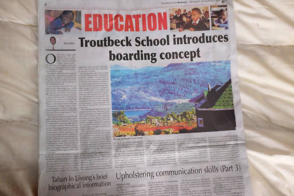 The Troutbeck School is featured in the Manica Post