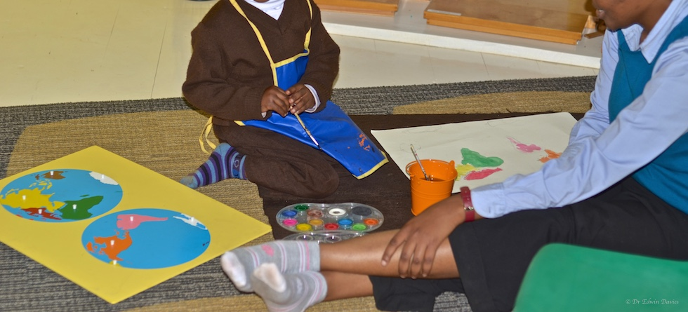 4 year old pupil learning the continents