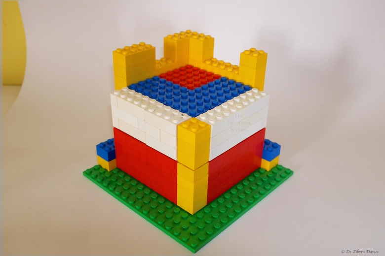 lego trinomial cube holder with 'a' and 'b' layers