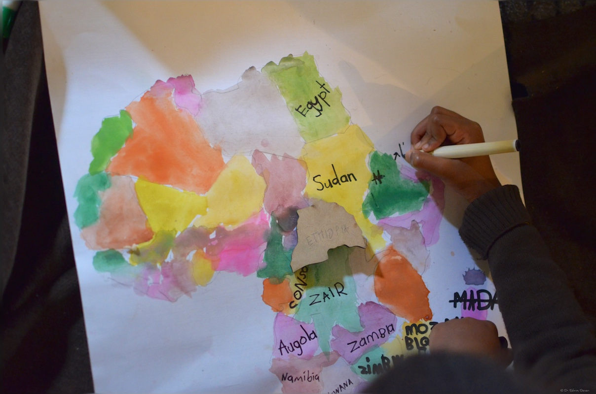 6 year old creates her first map of Africa