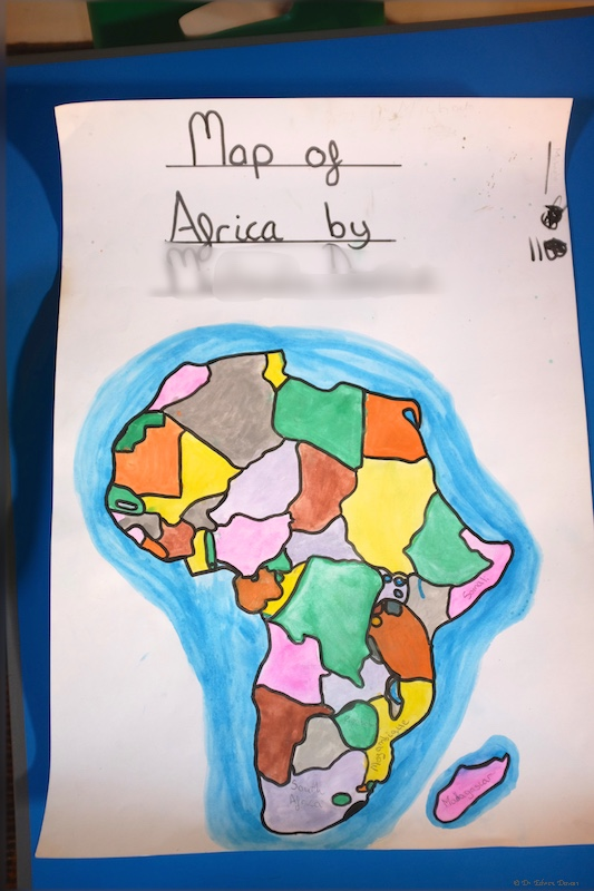 An 11 year olds map of Africa in progress