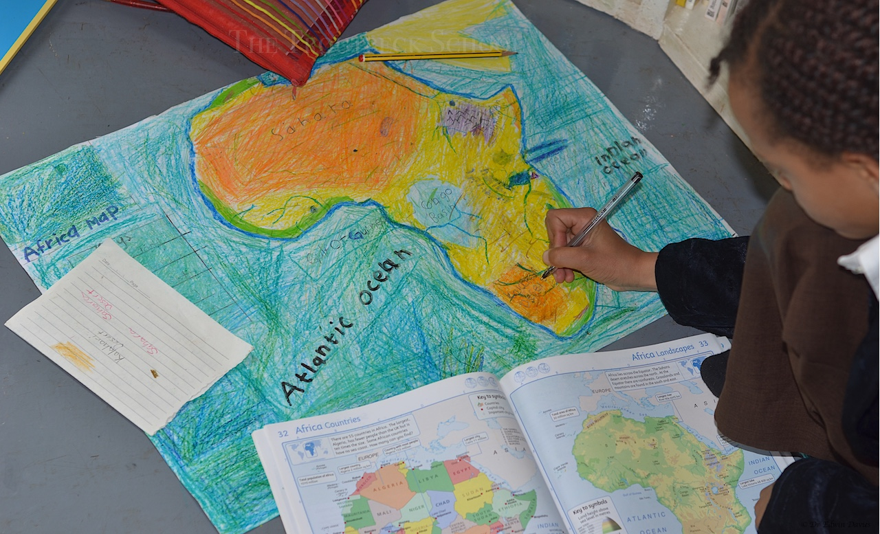 Drawing a physical map of africa the troutbeck school adding the rivers gumiabroncs Image collections